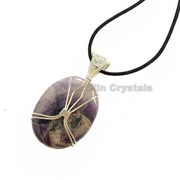 Amethyst Oval Shape Healing Stone Necklace