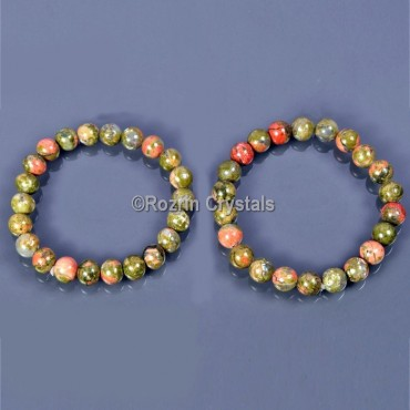 Unakite Fancy Gemstone Bracelet