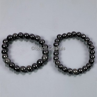 Beaded Blak Agate Gemstone Bracelet