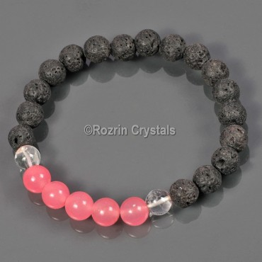 Lava Rock with pink Quartz Fengsui Gemstone Bracelet