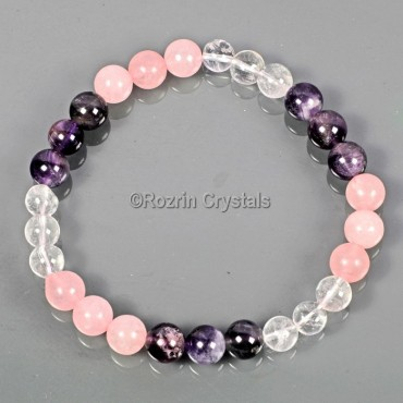 Rose Amethyst Crystal Gemstone Energy Bracelet