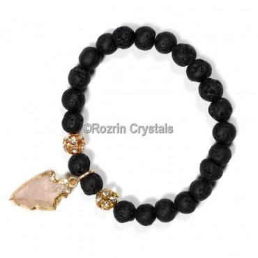 Lava stone wth arrow Gemstone Bracelet