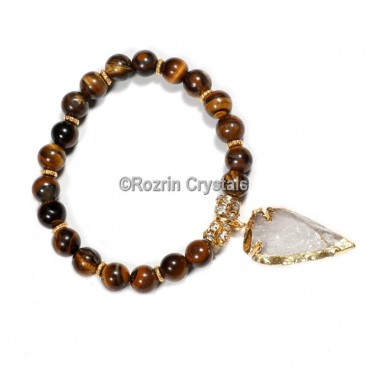 Yellow Tiger Eye with Arrow Healing Gemstone Bracelet