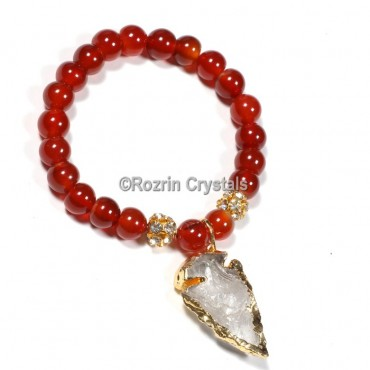 Red Onyx With Arrow Gemstone Bracelet