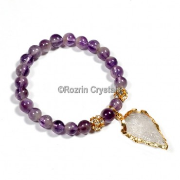 Amethyst With Arrow Power Healing Bracelet
