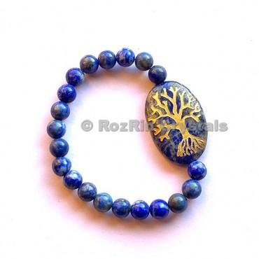 Lapis Lazuli Tree of Life Engraved Bracelet