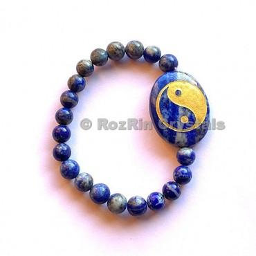 Lapis LazuliYin Yang Engraved Bracelet