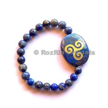 Lapis Lazuli Triskel  Engraved Bracelet