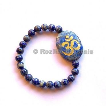 Lapis Lazuli Om  Engraved Bracelet
