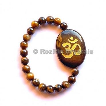 Tiger Eye Om  Engraved Bracelet