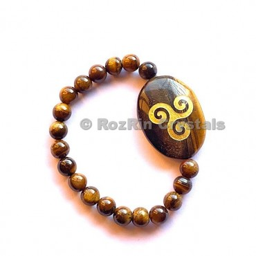 Tiger Eye Triskel  Engraved Bracelet