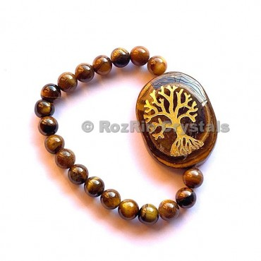 Tiger Eye Tree Of Life  Engraved Bracelet