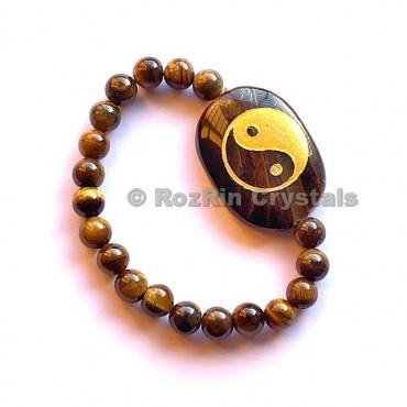 Tiger EyeYin Yang Engraved Bracelet