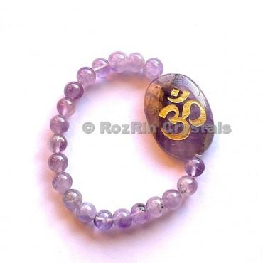 Amethyst Om  Engraved Bracelet