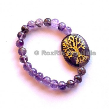 Amethyst Tree Of Life  Engraved Bracelet