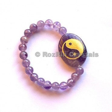 Amethyst Yin Yang Engraved Bracelet
