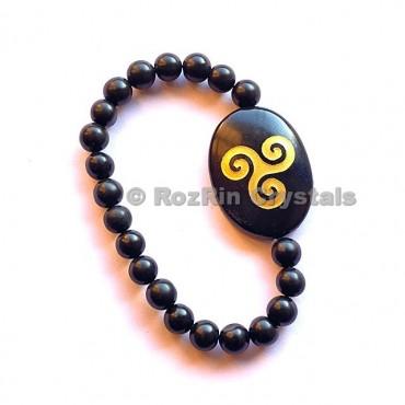 Black Agate Triskel  Engraved Bracelet