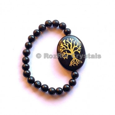 Black Agate Tree of Life  Engraved Bracelet