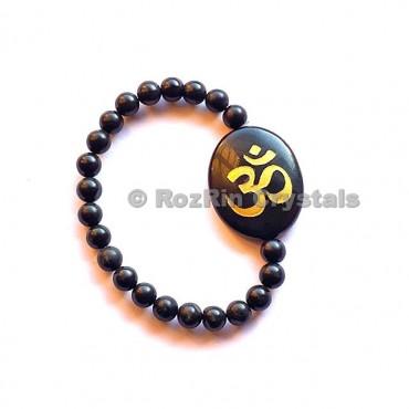 Black Agate Om  Engraved Bracelet