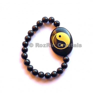 Black Agate yin Yang  Engraved Bracelet