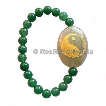 Green Aventurine Yin Yang  Engraved Bracelet
