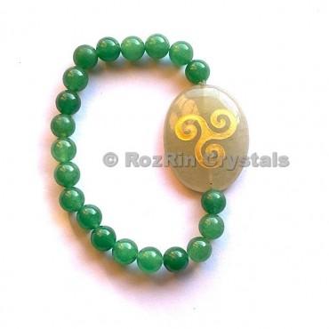 Green Aventurine Triskel  Engraved Bracelet