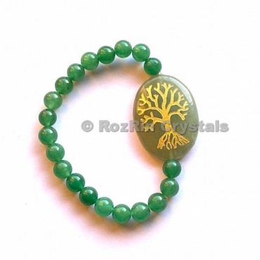 Green Aventurine Tree Of Life  Engraved Bracelet