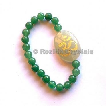 Green Aventurine Om  Engraved Bracelet