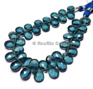 High Quality London Blue Topaz Quartz Faceted Briolettes Beads,London Blue Topaz Quartz Beads