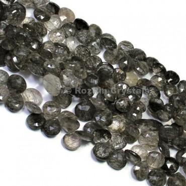 Natural Black Rutile Quartz Faceted Heart Briolettes Beads