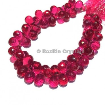 Pink Tourmaline Gemstone Quartz Beads,Pink Tourmaline Quartz Faceted Drop Briolettes Beads Pink Tourmaline Quartz Beads