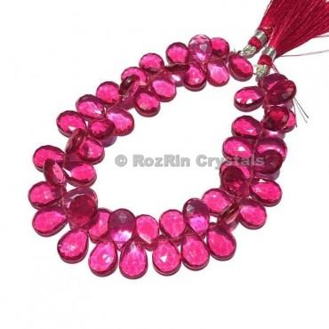 Amazing Quality Pink Tourmaline Quartz Faceted Pear Briolettes Beads