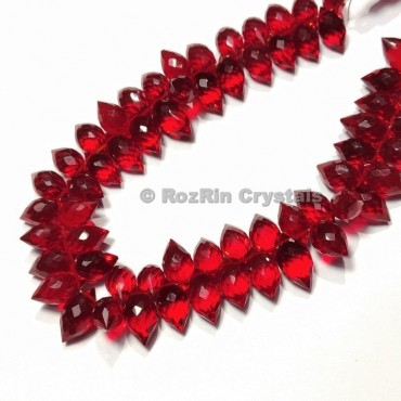 Amazing Quality RUBY Quartz Faceted Puffed Marquise Briolette Beads
