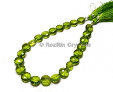 Amazing Quality,Green Peridot Quartz Faceted Coin Shape Briolette Beads