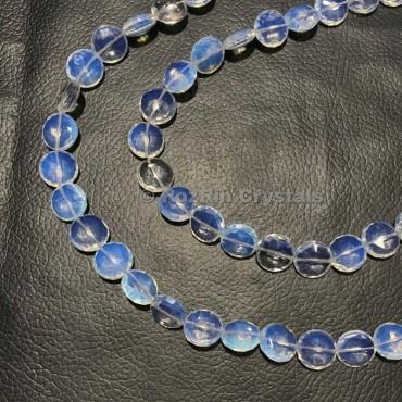 Opalite Quartz Faceted Coin Shape Briolette Beads