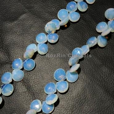 Opalite Quartz Gemstone Faceted Heart Briolette Beads