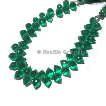 High Quality Emerald Quartz Gemstone Faceted Puffed Marquise Briolettes Beads