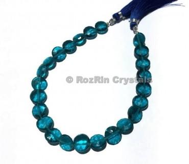 High Quality London Blue Topaz Quartz Faceted Coin Briolettes Beads