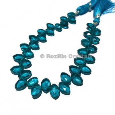 High Quality London Blue Topaz Quartz Faceted Marquise Briolettes Beads
