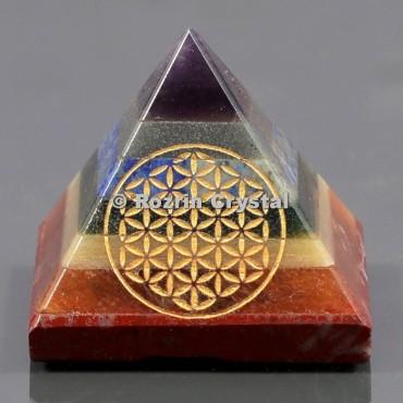 Chakra Bonded Flower Of Life Healing Pyramid