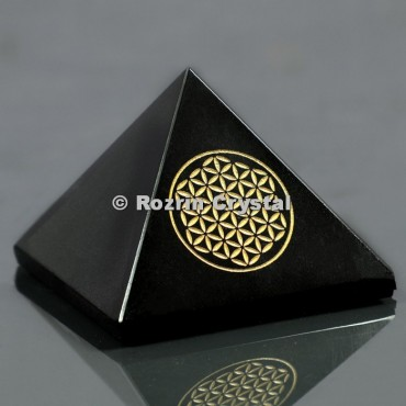Black Onyx Flower Of Life Healing Pyramid