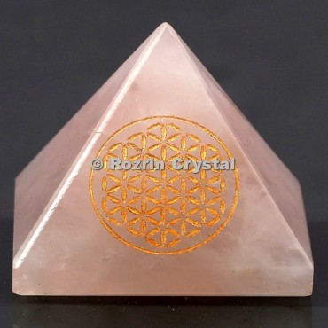 Rose Quartz Flower Of Life Healing Pyramid