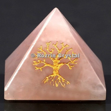 Rose Quartz Tree Of Life Healing Pyramid