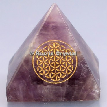 Amethyst Flower  Of Life Healing Pyramid