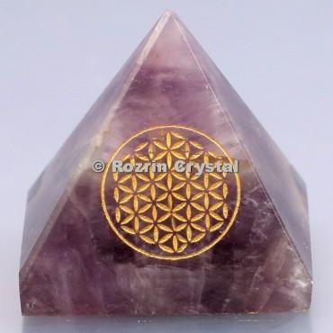 Amethyst Flower  Of Life Healing Pyramid