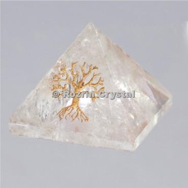 Crystal Quartz Tree Of Life Healing Pyramid
