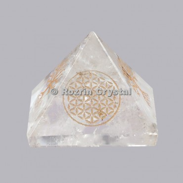 Crystal Quartz Flower Of Life Healing Pyramid