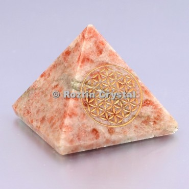 Sunstone Flower Of Life Healing Pyramid