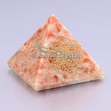 Sunstone Flower Of Life Healing Pyramid
