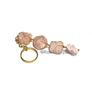 rose quartz 3stone hanging